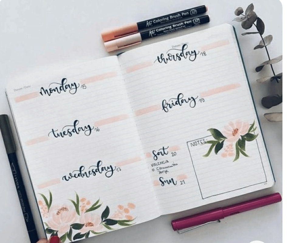 bullet journal inspiration for weekly spread ideas