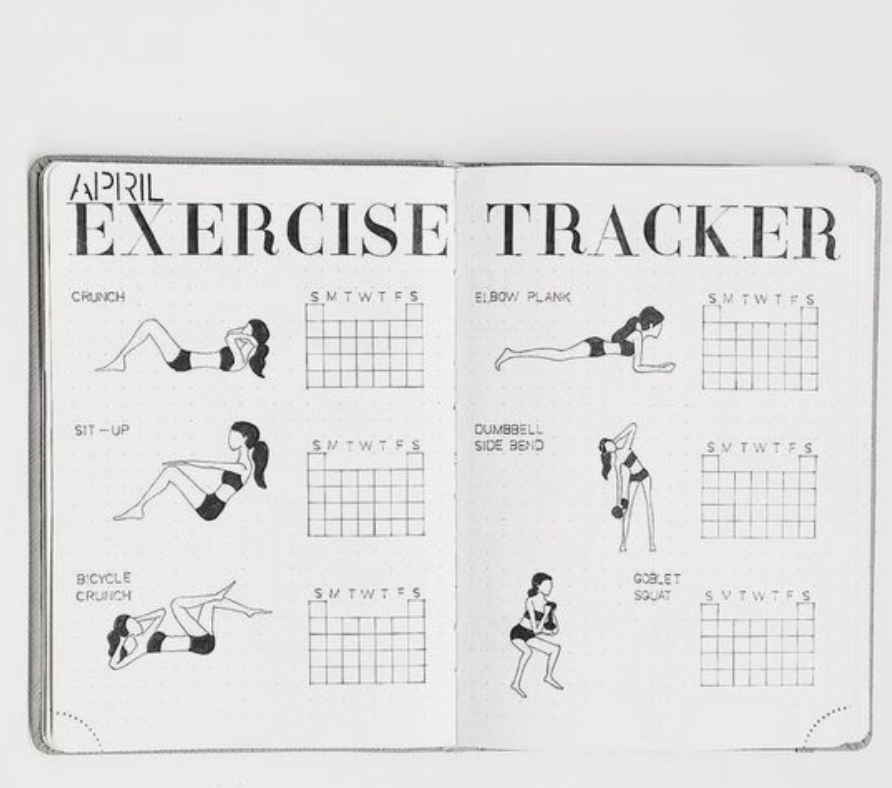 bullet journal routine page ideas and tracker eg exercise tracker